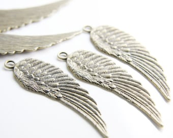 6pcs Antique Brass Tone Base Metal Charm - Pendant - Wing 66x20mm (15893Y-O-249) Right Side