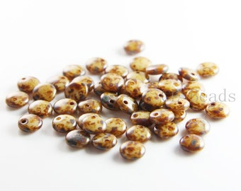 50pcs Czech Glass Beads - Lentils with One Hole - Opaque Light Beige Picasso 6mm (T13010) (L-141)