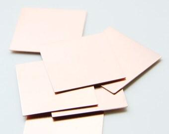 4pcs Copper Metal Blank - Stamp on - Metal stamping - Square 27mm (110202)