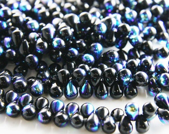 50pcs Czech Glass Tear Drops-Jet AB 8x6mm (86X2398) (B-8-7)