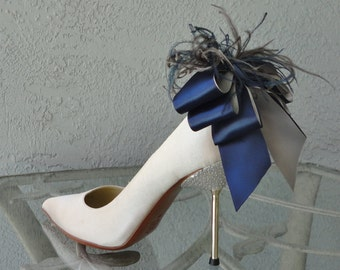 Bridal Party Wedding Gray And Navy Blue Satin Ribbon Bow And Feather Shoe Clips Set Of Two