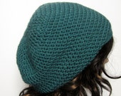 Teal Slouch Beanie - Womens Slouchy Crochet Hat - Blue Green Oversized Cap - Hipster Hat