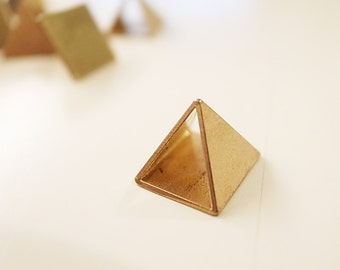 3 pieces of newly cut raw brass pyramid charm 10 mm triangle tube hand cut on both sides