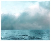 Ocean Photograph, aqua, grayed jade, sea, clouds, As Aqua As the Sea, nature print 8x10 - moonlightphotography