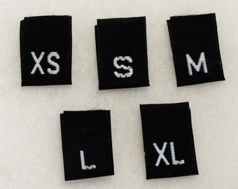 Mixed Size Bag - XS, S, M, L, & XL Woven Clothing Tags (Package of 50)- BLACK Background