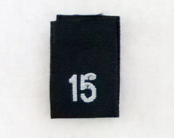 Size 15 (Fifteen) BLACK- Woven Clothing Size Tags (Package of 500)