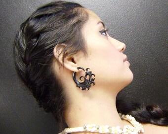 Fake Gauge Earrings ,Organic Black Horn, Split Gauge Earrings Fancy ,hand made,tribal style