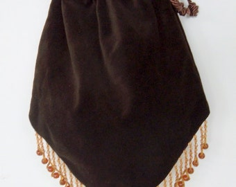 Chocolate Brown Velvet Gypsy Bag with Beads Hippie Bag  Boho Bead Bag  Cross Body Bag