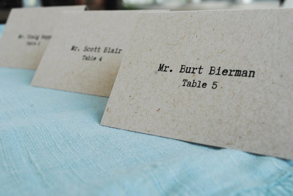 Kraft Brown Vintage Type Wedding Place Cards or Escort Cards - Michelle and Kent