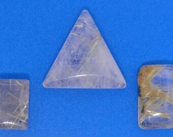 3 gold Rutilated Quartz cabochons, 52.02 carats total weight                                    069-18-009