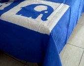 """Elephant Blue and White batik tablecloth/bed cover 60""""x94"""""""