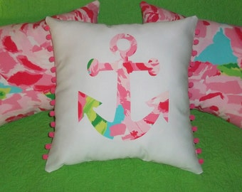 New Made To Order custom Anchor Pillow made with Your Choice of over 30 new AUTHENTIC Lilly Pulitzer fabrics