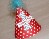 Red Dot and Turquoise Stripe Dr. Seuss Boys Party Hat