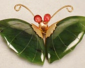 Asian JADE BUTTERFLY Brooch Pendant  1960s hanging app 2 x 1  inches  goldtone old stock