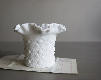 Fenton Milk Glass Vase with Daisy & Button Pattern
