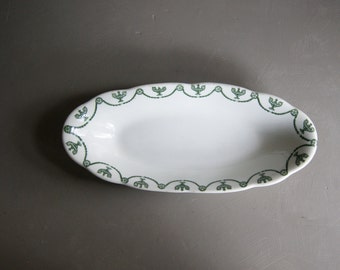 Vintage Restaurant Serving Tray, Green Swag, Syracuse China, Cracker Tray, St. Elmo Pattern, Christmas Cookie Plate, Oval Plate