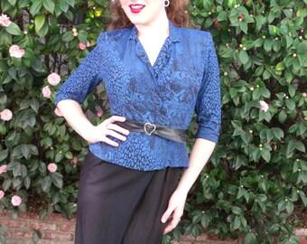 Vintage 70's Secretary Dress. Black and Blue Vintage VLV. Animal Print Dress Union Made