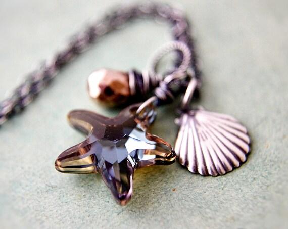 Shell Starfish Necklace Tabacco Crystal Nautical Pendant Sea Seashell Copper Pyrite PoleStar