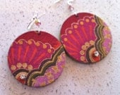 Large Round Decoupage Earrings - Pink and Orange