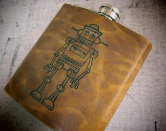 leather flask - hip flask - handmade leather flask - robot