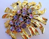 Gold Purple Lavender Rhinestone Flower Brooch