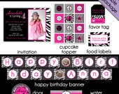 Printable party package in design girl gone wild with hot pink and zebra stripes