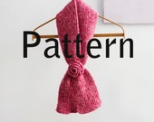 PDF Knitting Pattern, Instant Download, Ribbed Keyhole Scarf  Pattern, Crocheted Rose Pattern, Stay in Place Scarf, Self Tying Scarf