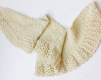 Hand Crochet Shawl, Bride's Shawl,  White Lace Scarf, Evening Lace  Scarf,  Womans Ruffle Scarf, Soft Shawl, Autumn Shawl