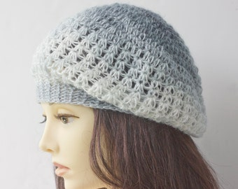 SALE, Crocheted  Slouchy Beanie Hat, Gray Ombre Beret, Hand Crochet Hat, Grey Shades , Ready to Ship
