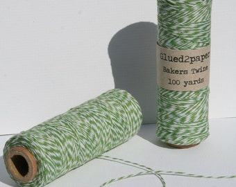 Green and White Bakers Twine - Green Bakers Twine - Scrapbooking Twine - Craft Supplies - 100 yards of 4 Ply Twine