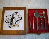Vintage Mid Century Modern Bar Utensils Set In Wooden Case Barware Cocktail