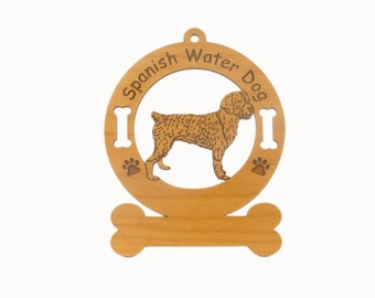 4008 Spanish Water Dog Standing Personalized Wood Ornament