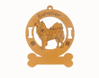 3178 Eurasier Dog Standing Personalized Wood Ornament - Free Shipping