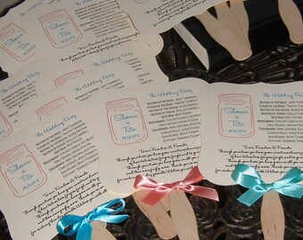 Wedding Fans, Wedding Program, Wedding Program Fan, Mason Jar, Mason Jar Fan, Mason Jar Program