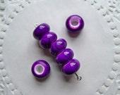 DARK PURPLE Beads/Purple Beads/Glossy Beads/Striped Beads/Acrylic Beads/14 mm Beads/Large Hole Beads