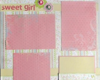 SWEET GIRL 12 x 12 premade scrapbook page - baby girl
