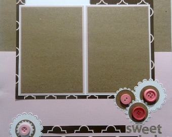 SWEET BABY 12 x 12 premade scrapbook page - girl baby girl