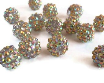 12 Basketball Wives, Large Aurora Borealis Pearl Pink Rhinestone Beads, Jewelry Making Supply, 14 mm