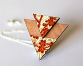 Japanese Triangle Necklace - Red, White and Gold Chiyogami Washi Floral Blossom Design, Tasmanian Myrtle Timber Wood, Sterling Silver Chain