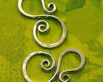 Sterling Silver Connectors, S Shaped, Silver Links for Jewelry Making, 2 Pieces