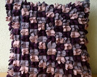 "Luxury Plum Pillows Cover, 16""x16"" Felt Pillowcase, Square  3D Felt Purple, Wine & Pink Origami Pattern Pillows Cover - Love Punch"
