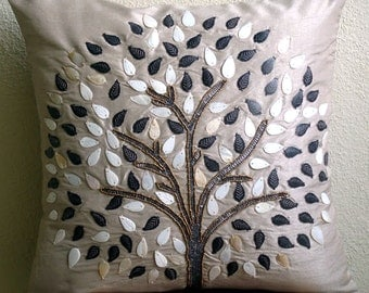 """Luxury Grey Pillows Cover, 16""""x16"""" Silk Pillows Covers For Couch, Square  Pearls & Beaded Tree Pillows Cover - Gray Hope Tree"""