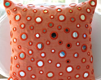 """Luxury Peach Orange Pillows Cover, 16""""x16"""" Silk Pillows Covers For Couch, Square  Mirror Pillow Cases - Mirror Fun"""