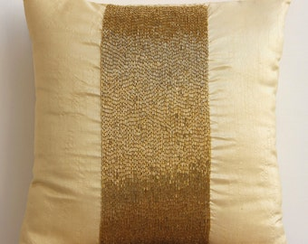 "Handmade Gold Throw Pillows Cover For Couch, 16""x16"" Silk Pillow Covers, Square  Metallic Beaded Sparkly Glitter Pillow Covers - Gold Center"