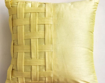Decorative Throw Pillow Covers Couch Pillow Sofa 20x20 Silk Pillow Cover with Basket Weave Yellow Brick Road Home Living Decor Housewares