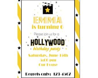 Hollywood Party Einladung Glam Geburtstag Einladung Digial Datei Drucken  Selbst   Film