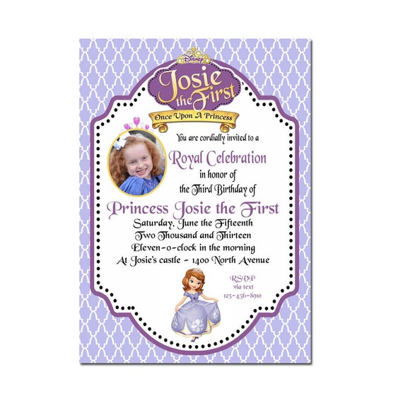 sofia the first invitation sofia the first birthday photo, Party invitations