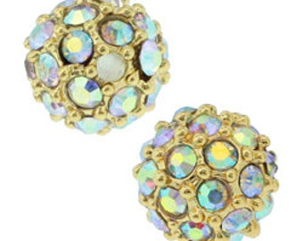 21 pcs 6mm pave crystal beads, Gold with Crystal AB crystals