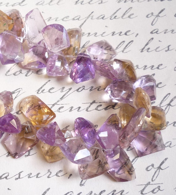 See VIDEO  On Facebook Real Ametrine ALL Fancy Shape Briolette Beads 1/2 Of Hefty 209 Carat Strand