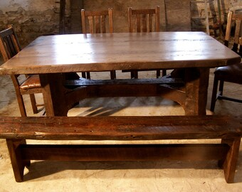 Timberframe Thick Plank Farm Table from Antique Barnwood
